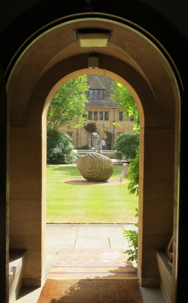 Peter Randall-Page's sculpture Flayed Stone IV (1999) in the Upper Quad of Nuffield College